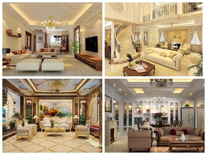 Không gian phòng khách biệt thự có thiết kế nội thất mang hơi hướng tân cổ điển sang trọng